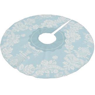 Vintage Sky Blue Elegant Floral Damask Brushed Polyester Tree Skirt