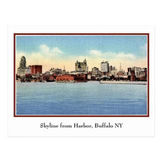 Vintage Skyline From Harbour, Buffalo NY Postcard