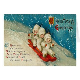 Vintage Sledding Snow Baby Christmas Card
