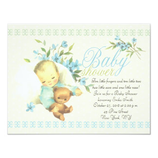 Vintage Sleeping Baby Shower Card