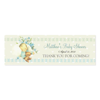 Vintage Sleeping Baby Shower Custom Favor Tag Double-Sided Mini Business Cards (Pack Of 20)