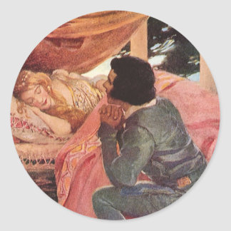 Vintage Sleeping Beauty by Jessie Willcox Smith Classic Round Sticker