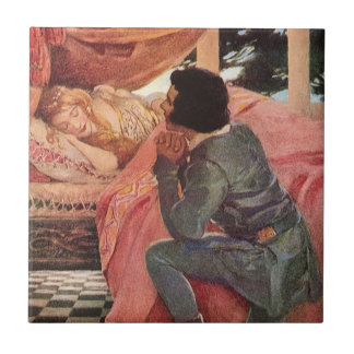 Vintage Sleeping Beauty by Jessie Willcox Smith Small Square Tile