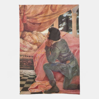 Vintage Sleeping Beauty by Jessie Willcox Smith Tea Towel