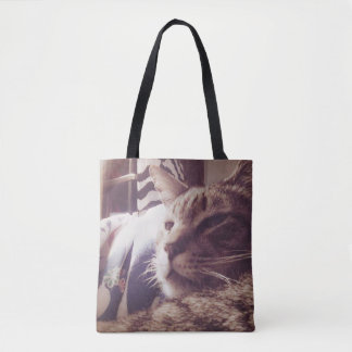 Vintage Sleepy Cat Photo | Tote Bag