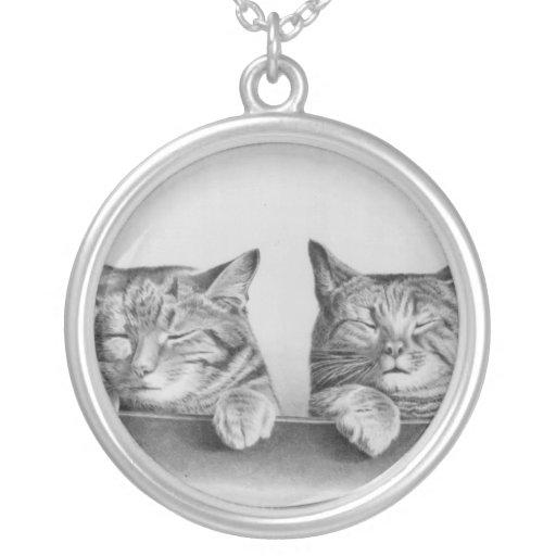 Vintage Sleepy Cats Necklace