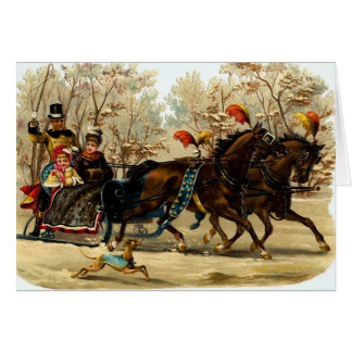 Vintage Sleigh Ride Christmas Greetings Card