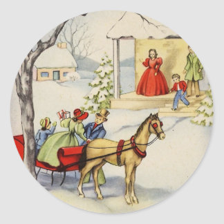 vintage sleigh ride Christmas_sticker Classic Round Sticker