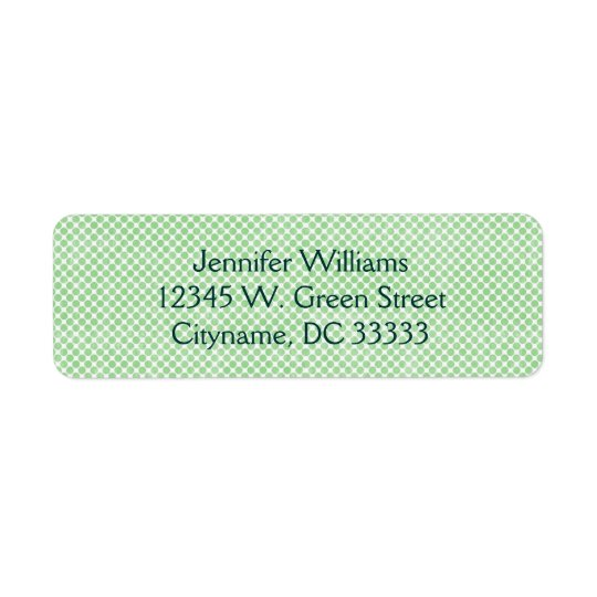 Vintage Small Green and White Dots Personalised Return Address Label