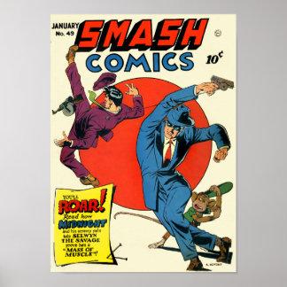 Vintage Smash Comics Superhero Crime Fighter Poster