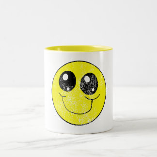 Vintage Smiley Face Two-Tone Coffee Mug