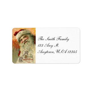 Vintage Smiling Santa Christmas Address Labels
