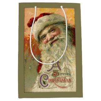 Vintage Smiling Santa Personalized Medium Gift Bag