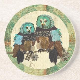 Vintage Smokey Rose Owls Moonlight Coaster