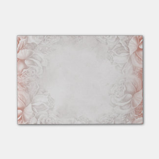 Vintage Smoky Peach English Roses Beige Neutral Post-it Notes