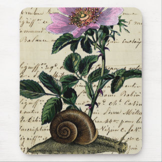 Vintage Snail and Flower digital Art Collage Mouse Pad