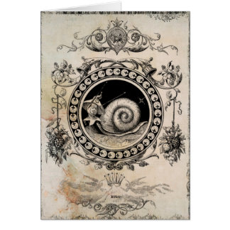 Vintage Snail Fairy Collage Art Card
