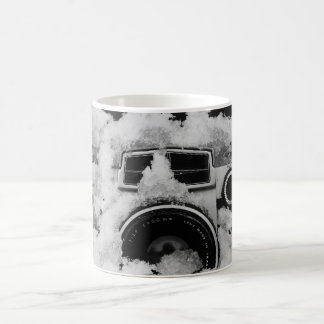 Vintage Snow Covered Black and White Camera Coffee Mug