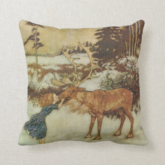 Vintage Snow Queen with Gerda and Reindeer Cushion