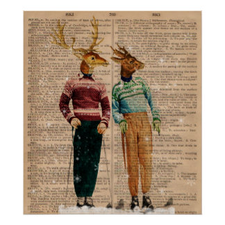Vintage Snow Ski Deer Dictionary Page Art Poster