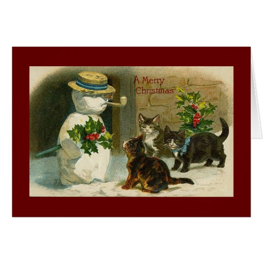 Vintage snowman and cats christmas card