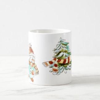 Vintage Snowman and Christmas Tree Mug
