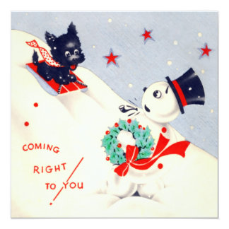 Vintage Snowman and Scottie Christmas Card