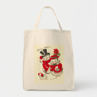 Vintage Snowman and Snowwoman Organic Grocery Tote Tote Bag