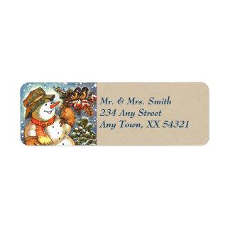 Vintage Snowman Christmas Return Address Label