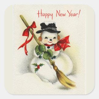 Vintage Snowman Happy New Year Square Sticker