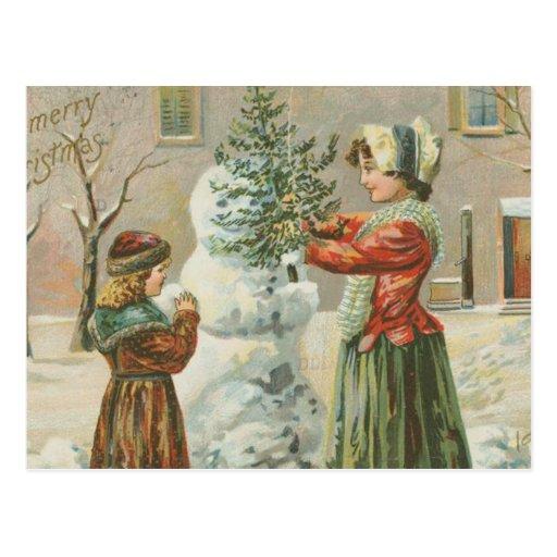 Vintage Snowman Postcard