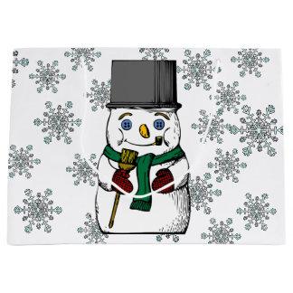 Vintage Snowman Snowflakes Winter Holidays Large Gift Bag