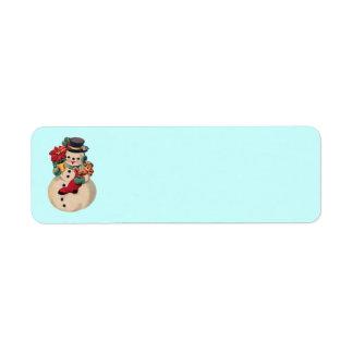Vintage Snowman with Poinsettia Return Address Label
