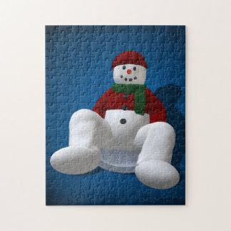 Vintage Snowmen on Snow Disc Puzzles