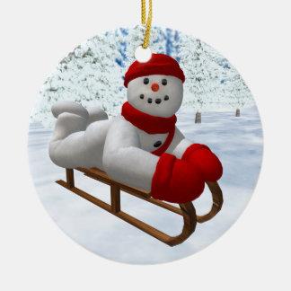 Vintage Snowmen Sledder Ornament
