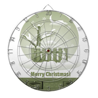 Vintage Snowy Merry Christmas Graphic Dartboard