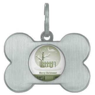 Vintage Snowy Merry Christmas Graphic Pet ID Tag