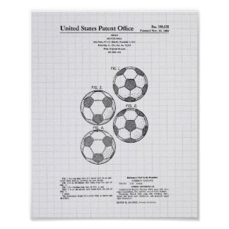 Vintage Soccer Ball 1964 Patent Art - Lined Peper Poster