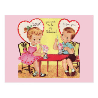 Vintage Soda Shop Sweethearts Valentine Postcard