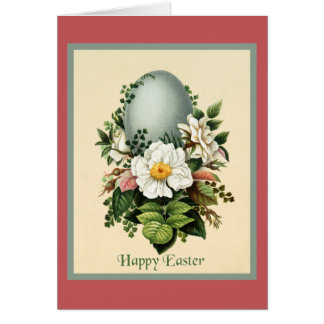 Vintage Soft Blue Easter Egg Surrounded by Flowers Card