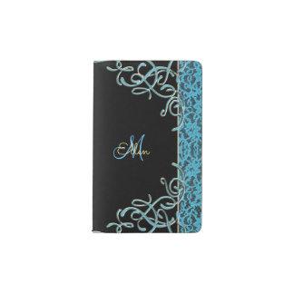 Vintage Soft Blue Lace Monogram Pocket Moleskine Notebook