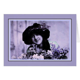 Vintage soft border glamour lady hat flowers card