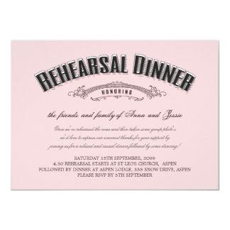 Vintage Soft Pink Wedding Rehearsal Dinner Invite