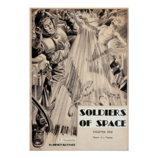 Vintage Soldiers of Space Science Fiction Pulp Poster