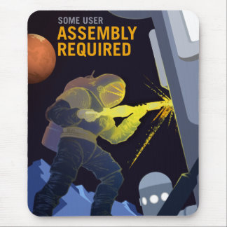 Vintage Some Assembly Required Mars Recruitment Mouse Pad