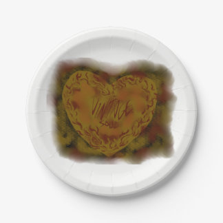 VINTAGE SOUL HEART  PAPER PARTY PLATE 7 INCH PAPER PLATE