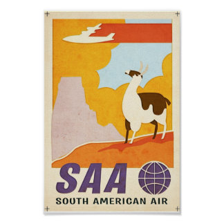Vintage South American Air travel poster