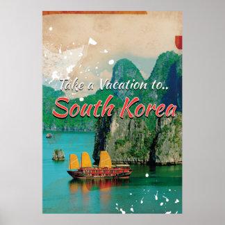 Vintage South Korea Travel Poster