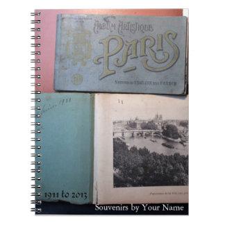 Vintage Souvenirs de Paris Personalized Notebook 1