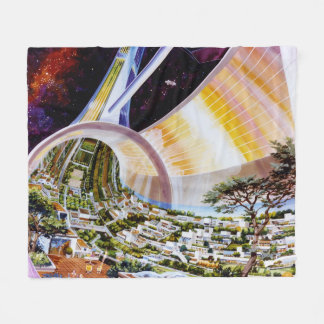 Vintage Space Artwork Fleece Blanket